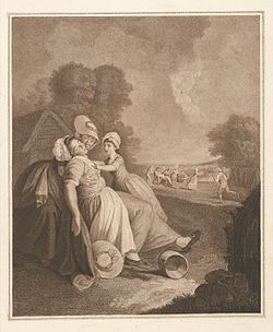 A girl fainting and collapsing into the arms of a woman, in Wellcome L0043649.jpg