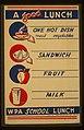 A good lunch - one hot dish, meat, vegetables - sandwich - fruit - milk LCCN98517081.jpg