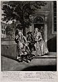 A man leaves the house followed by his servant, a woman weep Wellcome V0039180.jpg