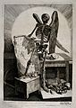 A winged skeleton holding a drawing of a seated model Wellcome V0008796.jpg