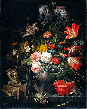 Abraham Mignon - Abraham Mignon - Bouquet with cat and mousetrap