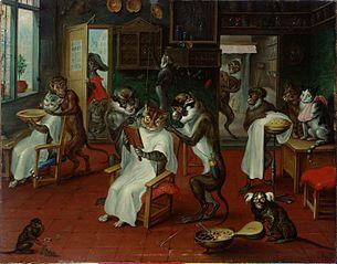 Barbierstube mit Affen und Katzen