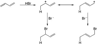 Addition von Bromwasserstoff an ein konjugiertes Dien