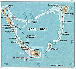 1976 map of Addu Atoll showing Gan and airfield