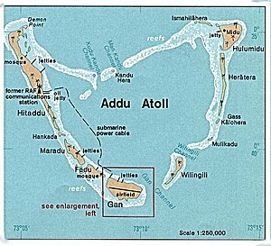 Addu City - Addu Atoll map in 1976.