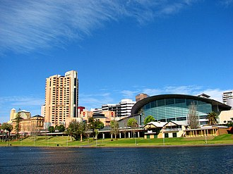 Adelaide Convention Centre - Adelaide Convention Centre (right), on the banks of the River Torrens. This is before the pedestrian bridge was built.