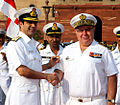 Admiral Bernard Rogel shaking hands with Admiral RK Dhowan at South Block, Delhi.JPG