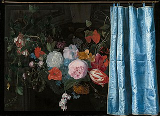 Trompe-l'Oeil Still Life with a Flower Garland and a Curtain