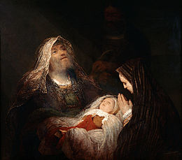 Painting that shows three figures on a dark background: to the left the bright face of an old man with a gray beard looking up while holding a baby, presented in the centre on a white pillow, while the mother to the right, covered by a dark cloak, shows only the face in profile and her hands raised in prayer
