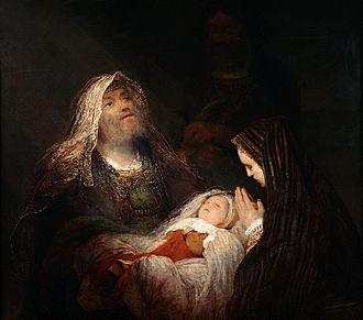 Luke 2 - Simeon's Song of Praise (also showing Anna) by Aert de Gelder, around 1700–1710.