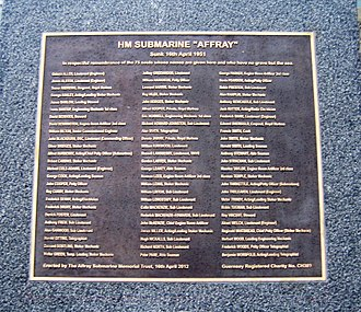HMS Affray (P421) - Plaque in Gosport for the submarine Affray,2012
