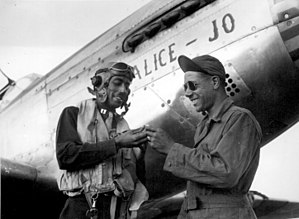Red Tails - Tuskegee Airmen: Capt. Wendell O. Pruitt with his crew chief, S/Sgt. Samuel W. Jacobs, c. November 1944