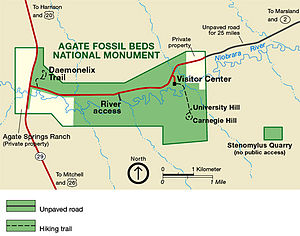 Agate Fossil Beds National Monument - Image: Agfo map