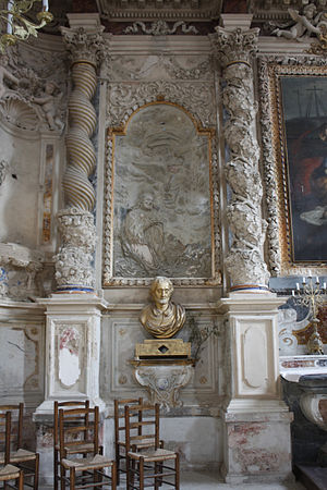 Modestus of Jerusalem -  Aigues Mortes-Chapel of the Grey Penitents of Jesus to the Mount of Olives; in front of that is placed a gilded wooden reliquary bust Saint Modestus of Jerusalem