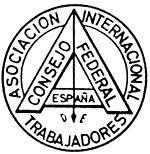 """The Masonic """"level in a circle"""" at first used by the Federal Council of Spain of the International Workingmen's Association. Note the inclusion of the Plumb, one of the working tools of operative masonry, and a symbol of rectitude of conduct"""