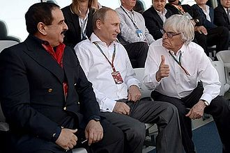 Bernie Ecclestone - Ecclestone with King of Bahrain Hamad ibn Isa Al Khalifah and Russian President Vladimir Putin on tribunes of the races Formula One in Sochi. 12 October 2014