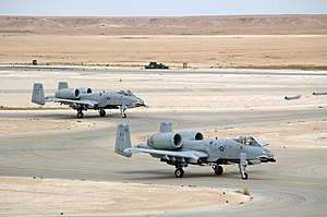 438th Air Expeditionary Group - A-10 Thunderbolt IIs from the 438th Air Expeditionary Group taxi out for a close air support mission