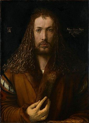 Albrecht Dürer - 1500 self-portrait (High resolution and detail).jpg