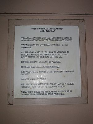 Prisoners' rights - Visitation rules at Alcatraz