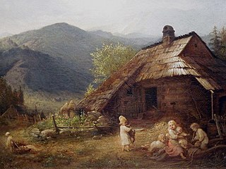 Children in front of a mountain Cottage