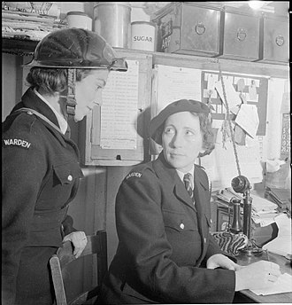 Air Raid Precautions in the United Kingdom - ARP Wardens working at a London ARP sector post.