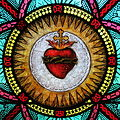 All Saints Catholic Church (St. Peters, Missouri) - stained glass, sacristy, Sacred Heart detail.jpg