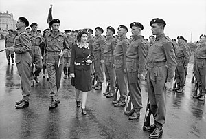 5th Guards Armoured Brigade - Princess Elizabeth inspecting an honour guard during a Royal visit to 2nd (Armoured) Battalion Grenadier Guards, 5th Guards Armoured Brigade, Guards Armoured Division, at Hove, 17 May 1944.