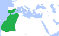 Map of the Almoravid dynasty in green at its greatest extent, circa 1120. The territory covered most of the Northern reaches of Northern Africa, as well as Southern Iberia.