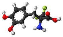 Ball-and-stick model of α-difluoromethyl-DOPA