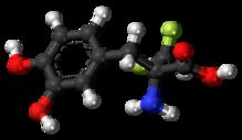 Ball-and-stick model of α-difluoromethyl-DOPA