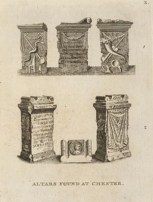 History of Chester - Ancient Altars found at Chester, from Pennant's, A tour in Wales, 1778