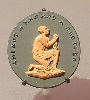 Am I not a Man and a Brother, medallion modelled by William H. Hackwood, Wedgwood, Etruria, England, c. 1786, tinted stoneware - Brooklyn Museum - DSC09289.JPG