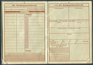 Amtsdokument Paul Fischer 1937 Leutnant Wehrpass Luftwaffe Seite 10 11 Reichsarbeitsdienst Auf den Führer vereidigt am Eingestellt Entlassen.jpg