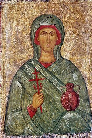 Anastasia of Sirmium - Great Martyr Anastasia, the Deliverer from Potions (Byzantine icon, 14th-15th century, State Hermitage Museum,  Saint Petersburg, Russia).