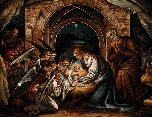 Angels pray at the birth of Christ, nativity Wellcome V0034629