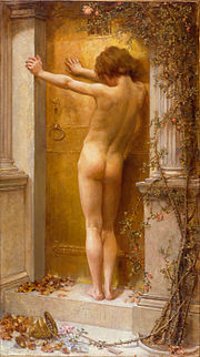 Love Locked Out: a nude figure stands with her back to the viewer, leaning against a closed door.