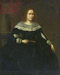 Portrait of a lady in a black dress with a fan.