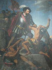 Hernan Cortés lluita amb dos indis