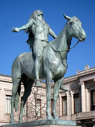 Museum of Fine Arts, Boston - Cyrus Dallin's Appeal to the Great Spirit (1909) stands outside the museum's Huntington Avenue entrance.