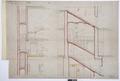 Arbetsritning, fastigheten nr 4 Hamngatan.Trappan mellan kontoret och vinden - Hallwylska museet - 105285.tif