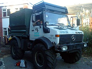 Arborist - Arborists may use specialised vehicles to access trees, such as this Unimog equipped with a power take-off driven woodchipper