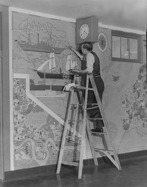 Julia Richman High School - Artist Benjamin Knott painting a mural at the school as part of the Federal Art Project in 1936. From the collection of the Archives of American Art