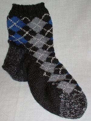 An argyle sock, knit using intarsia