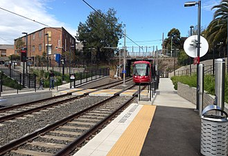 Railways in Sydney - Arlington station on the L1 Dulwich Hill Line, the only operational line of the Sydney Light Rail network