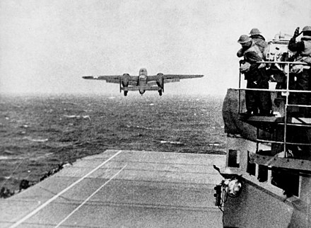 A B-25 bomber takes off from USS Hornet as part of the Doolittle Raid. Army B-25 (Doolittle Raid).jpg