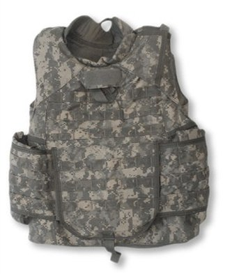 Bulletproof vest - The Improved Outer Tactical Vest (IOTV), here in Universal Camouflage Pattern, is issued to U.S. Army soldiers