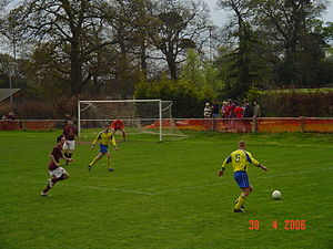 Ampthill - Arsenal Celebrity Charity Team against Ampthill Town. Ampthill (yellow) vs Arsenal (red).
