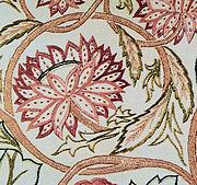 Embroidery in silk thread on linen, 19th century
