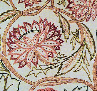 Straight stitch - Seed stitches (small, detached running stitches) are used on the center ribs of these flower petals.