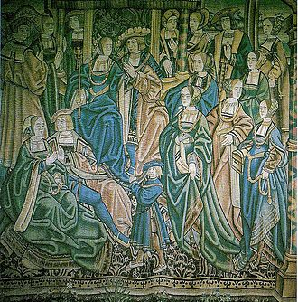 Arthur, Prince of Wales - A Flemish tapestry depicting Arthur and Catherine's court.